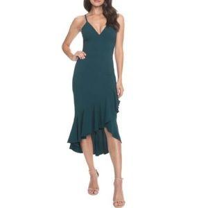 Dress the Population Wendy Ruffle Midi Dress Pine
